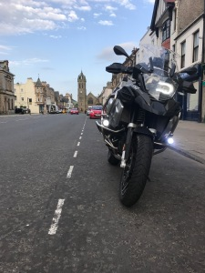 R1250GS Adventure Motorcycle parked in High Street, Peebles, Scotland