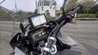 View of R1250GS Adventure Motorcycle dashboard, Satellite Navigation and right handlebar