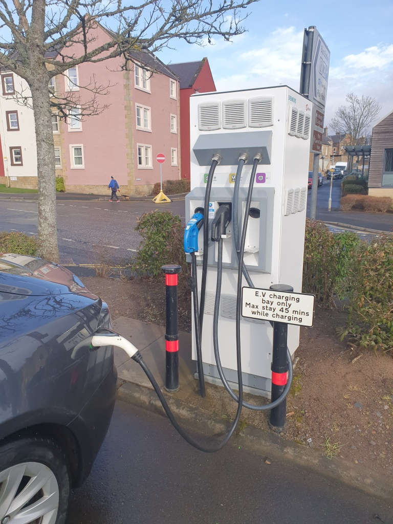 Image of Public Rapid Charger in Cannongate Car Park in Jedburgh, Scotland which I used on my drive home from Durham to Livingston.