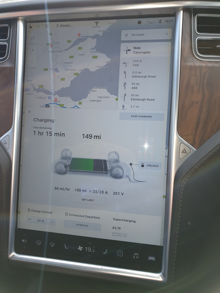 Picture of the touchscreen display in the Tesla Model S while charging on AC at the Cannongate Charging facility.