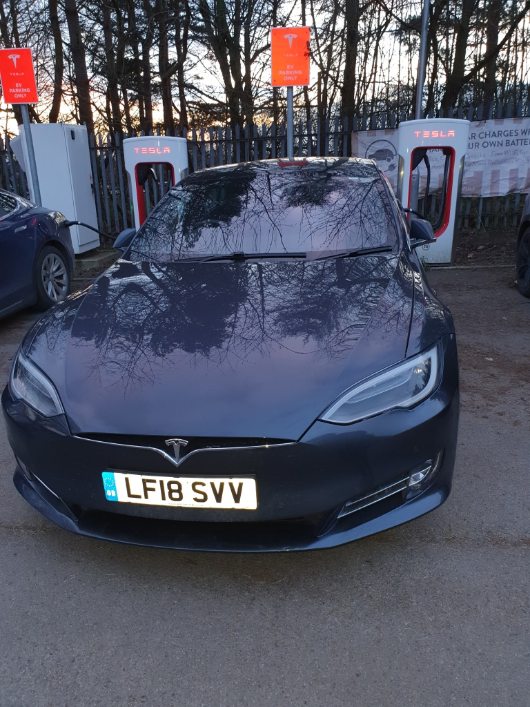 Model S Supercharging at Washington, Tyne and Wear Supercharger.