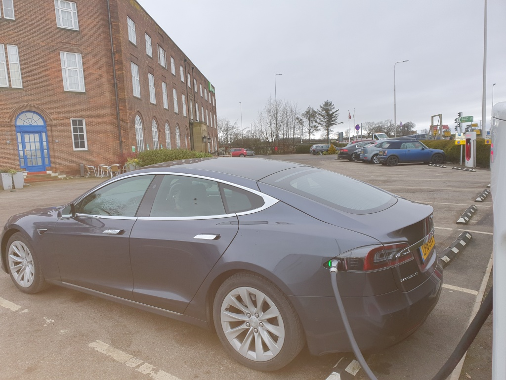 Photograph of Tesla Model S supercharging at Richmond.
